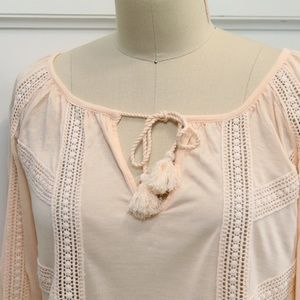 Lucky Brand Tops - Lucky Brand Lace Mixed Peasant Top